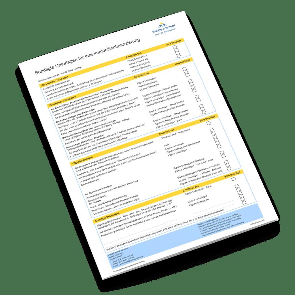 Hüttig & Rompf Checkliste Unterlagen für die Baufinanzierung